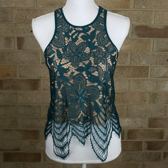 5212aeb1af60ec NWT EXPRESS Green Nude Lace Crop Top XSmall